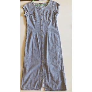 Blue denim chambray button up front midi dress
